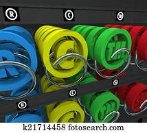 Intellectual Property Vending Machine Copyright Trademark Symbol