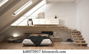 Witte Scandinavische Slaapkamer : Stock fotografie woonstudio mezzanine scandinavische