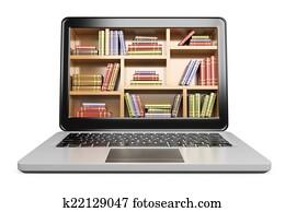 3D Laptop. Digital Library concept
