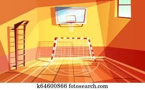 Gymnasium or gym hall illustration
