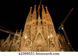 Sagrada Familia at night, Barcelona Spain
