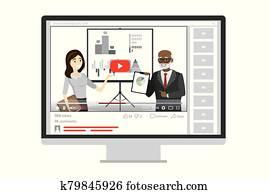 finanz, webinar, auf, tablette pc, und, trainieren, training, mit, mentoren