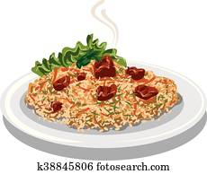 hot pilaf with rice