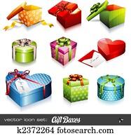 vektor, set:, geschenk boxt