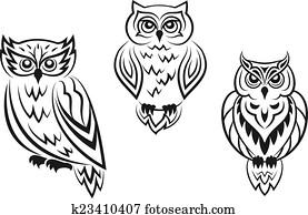 Black and white owl bird tatoos