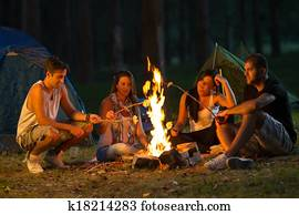 Friends camping