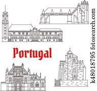 Portugal architecture landmarks vector buildings