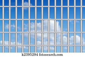 blue sky through the bars