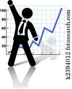 Businessman Raises Fist to Celebrate Business Growth Success