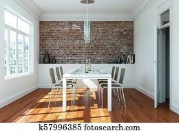 Dining room interior design with stone wall