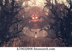 Girl looking at giant spider in creepy forest