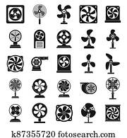 Ventilator propeller icons set, simple style