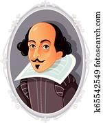 william shakespeare, vektor, karikatur