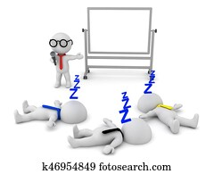 3D illustration of a boring presentation which puts people to sleep