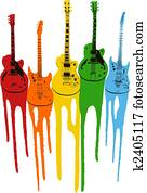 colourful music guitar illustration