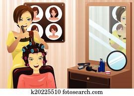 hairstylist, arbeitende, in, a, salon