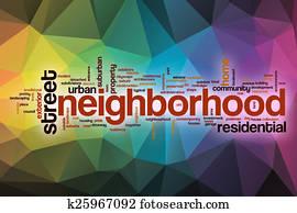 Neighborhood word cloud with abstract background