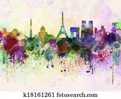 Paris skyline in watercolor background