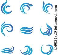 Wave logos. Blue water waves with splashes vector emblems
