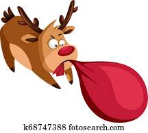c84db65631746 RF Royalty Free. Christmas deer pulling heavy bag with pressents vector  illustration on a white background