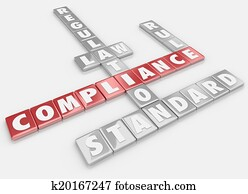 Compliance Word Tiles Follow Rules Regulations Laws Guidelines