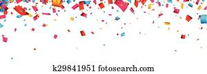 Confetti celebration banner.