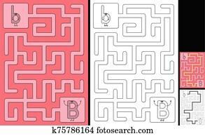 Easy alphabet maze - letter B