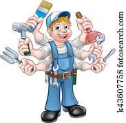 karikatur, heimwerker