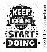 modernes, flache, design, hüfthose, abbildung, mit, notieren, phrase, behalten, gelassen, und, start, machen
