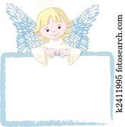 niedlich, engelchen, einladen, &, karte setzen