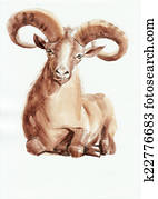 Ram watercolor painting
