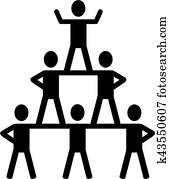Cheerleading pyramid icon