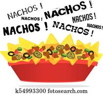 Loaded cheese nacho with meat and jalapeno