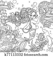 Beautiful little mermaid girl on underwater world with corals and anemones background outlined