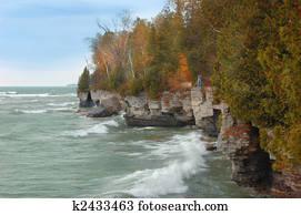 Stock Images Of Lake Michigan Waves Along Coast K2175556