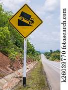 Warning road sign up to hill, use low gear. Stock Photo ...
