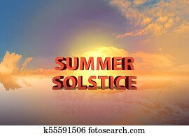 Summer solstice with dramatic sunset