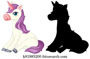 Unicorn with its silhouette