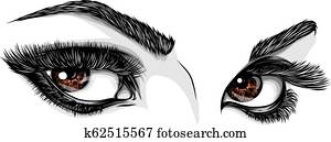 vector illustration Beautiful Women Eyes with make up
