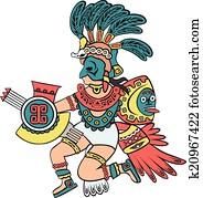 aztekisch, god,, farbe, version