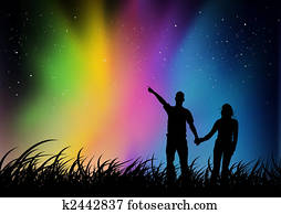 Couple watching Northern Lights