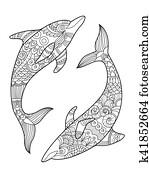 Clip Art Delfin Und Mandalas K37982668 Suche Clipart Poster