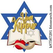 Happy Yom Kippur banner with shofar