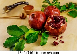 Pomegranate and honey for Rosh Hashanah with horn.