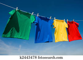 Primary Colored T-Shirts on a clothesline