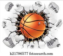 basketball, und, alt, pflastermauer