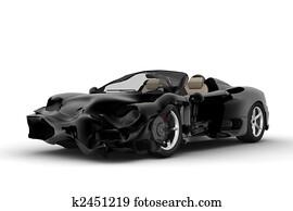 Black accident car