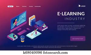 E-learning isometric 3D landing page.