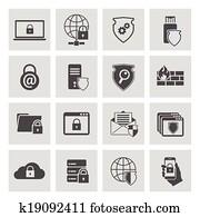 informationstechnologie, sicherheit, heiligenbilder, satz