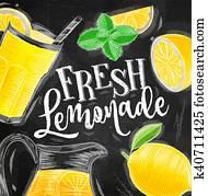 plakat, frisch, limonade, tafelkreide